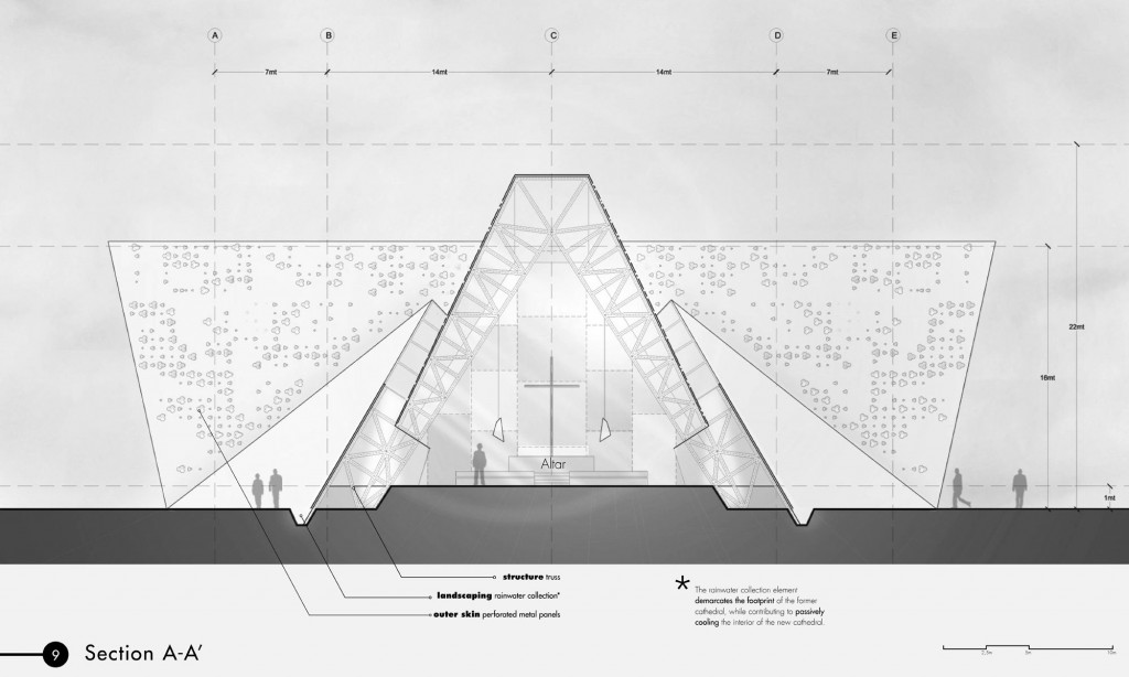 YCF Concept of Proposed Cathedral Section Through the Roof